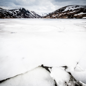 One month into spring and Loch Callater is still partially frozen over.
