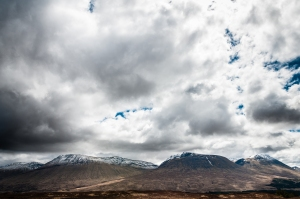 Ominous clouds above the hills of the Black Mount and Rannoch Moor along the West Highland Way.