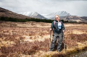 Steph enjoying a brief window of sunshine as we make our way through Rannoch Moor on the West Highland Way.