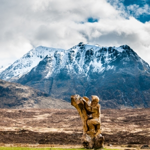 """""""Cliff,"""" a sculpture by Ewen Lawrie, overlooks Meall a' Bhuiridh from its place outside the Kingshouse Hotel."""