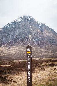 Another sign post for the West Highland Way with Buachaille Etive Mor in the background.