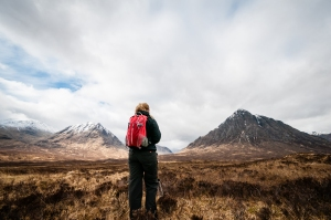 Steph soaking in the amazing sight of Meall a' Bhuiridh and Buachaille Etive Mor from the West Highland Way.