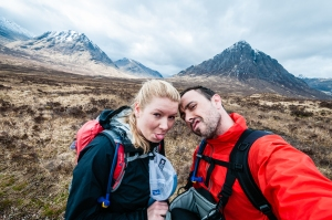 What better location for a cheeky selfy on the West Highland Way with Buchaille Etive Mor and Meall a' Bhuiridh in the background.