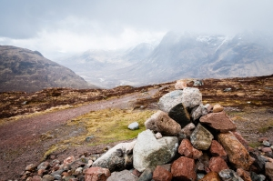 One of two cairns marking the top of the infamous Devil's Staircase on the West Highland Way.
