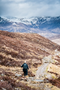 Steph descending towards Kinlochleven.