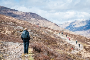 Lots of hikers coming up the trail from Kinlochleven.