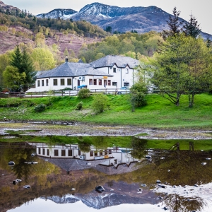 A calm morning at the MacDonald Hotel in Kinlochleven, Scotland.