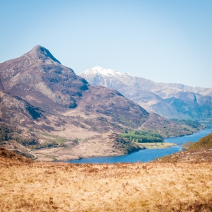The Pap of Glencoe (Sgorr na Ciche) and Loch Leven from the West Highland Way above Kinlochleven, Scotland.
