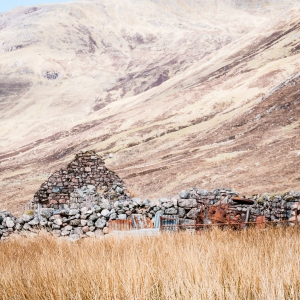 Abandoned crofting building along the West Highland Way between Kinlochleven and Fort William, Scotland.