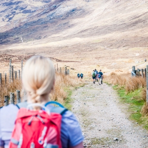 A fair amount of foot traffic on the West Highland Way between Kinlochleven and Fort William, Scotland.