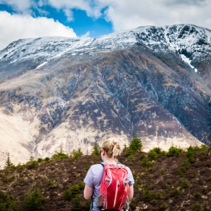 Steph admiring the stunning views of Ben Nevis from the West Highland Way.
