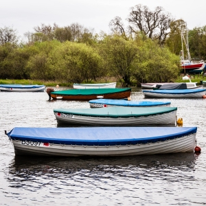Boats in Loch Lomond at Balmaha.