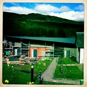The unfinished accommodations at Bridge of Orchy Hotel.