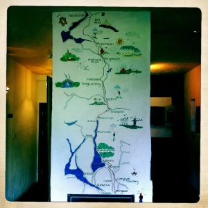 Painted map of the West Highland Way in the MacDonald Hotel pub.