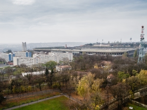 Depending on the source of information, Strahov Stadium either was once or is currently the world's largest facility of its kind, with capacity for somewhere between 220,000 and 250,000 people. Whichever the case may be, the stadium and surrounding tower blocks - as seems to be common with so many Soviet Communist era developments -  are in an obvious state of disrepair, although there is talk of redevelopment by some Czech leaders.
