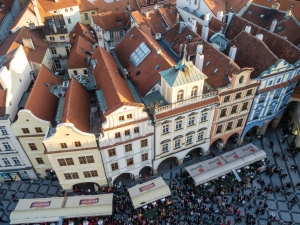 Looking down on the Old Town Square of Prague from atop the Astronomical Clock. Can somebody pass me up a beer please?