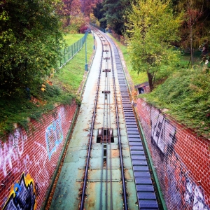 The funicular railway leading to the top of Petrin Hill.