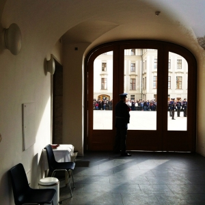 We moved on from the crowd at the gate and found a more low key, behind-the-scenes vantage point for the changing of the guard ceremony at Prague Castle.