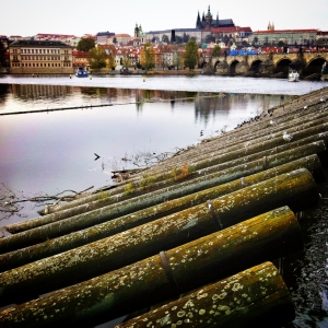 The Vltava River with Prague Castle prominent on the hill above.