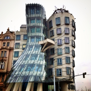 "Prague's Nationale-Nederlanden building, also know as ""the Dancing House"" or ""Fred and Ginger."""