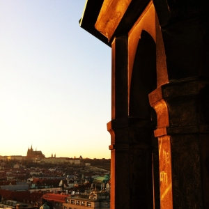 Looking towards Prague Castle from atop the Astronomical Clock.