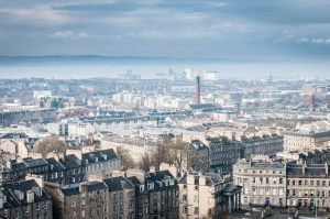 Looking north towards Leith and the Firth of Forth from Calton Hill.