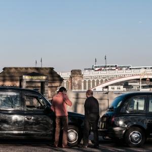 Taxis on Waverley Bridge.