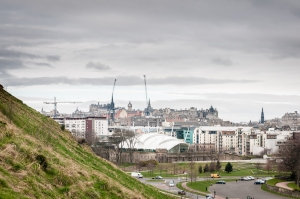 The view from Holyrood Park looking back into the city centre.