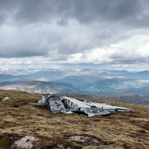 The remains of an RAF Canberra which crashed on the slopes of Carn an t-Sagairt Mor in 1956 still look eerily fresh.