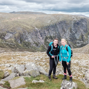 Laura and Steph - aka the Adventure Quines - atop Cairn Bannoch, Munro number 4 of 5 on the day. The summit cone of the day's first Munro, Lochnagar (Cac Carn Beag), can be seen in the distance.